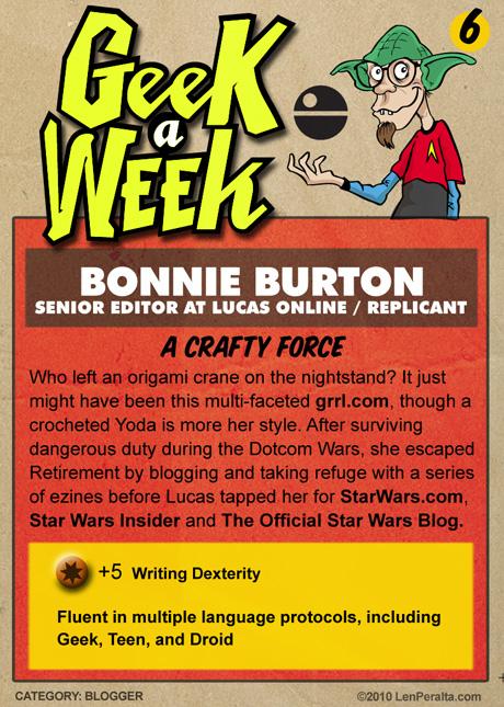Geek A Week Challenge #6: Bonnie Burton back