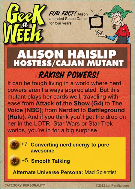 Geek A Week One-Offs: Alison Haislip back