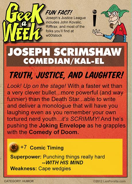 Geek A Week One-Offs: Joseph Scrimshaw back