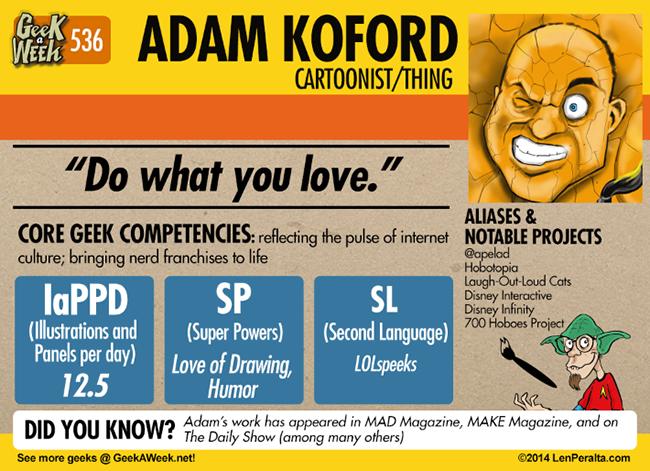 Geek A Week: Year Five Two: Adam Koford back