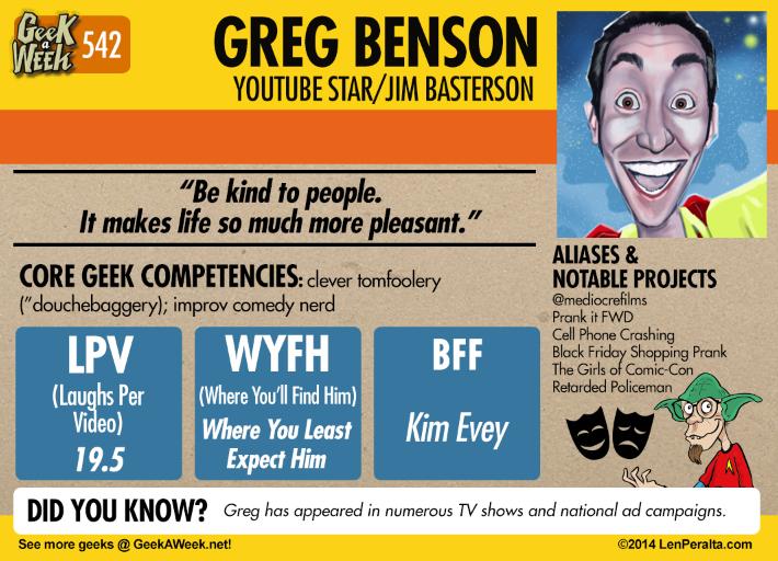 Geek A Week: Year Five Two: Greg Benson back